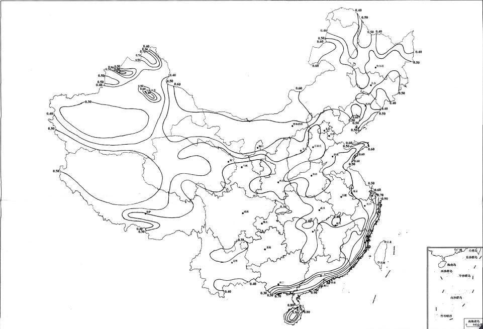 全国基本风压分布图(KN/㎡)