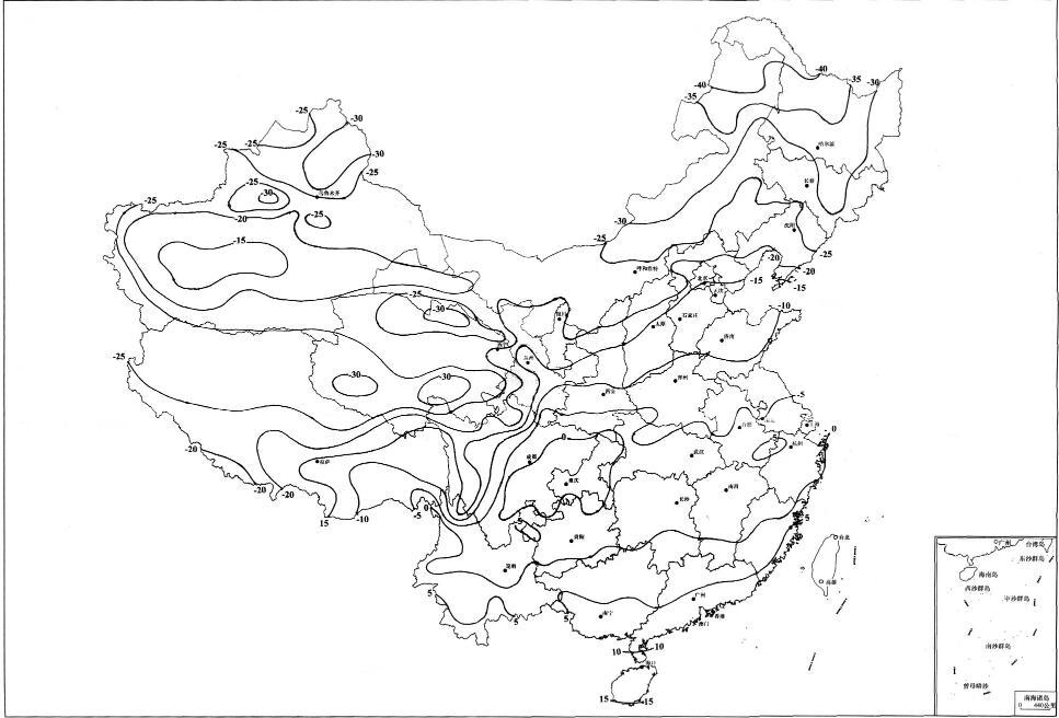 全国基本气温(最低气温)分布图