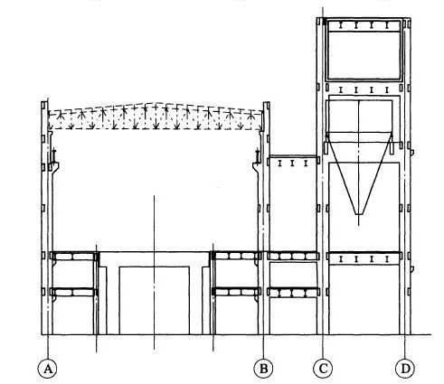 常规三列式布置的主厂房结构