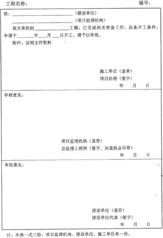 表B.0.2 工程开工报审表