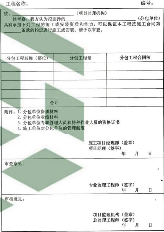 表B.0.4 分包单位资格报审表