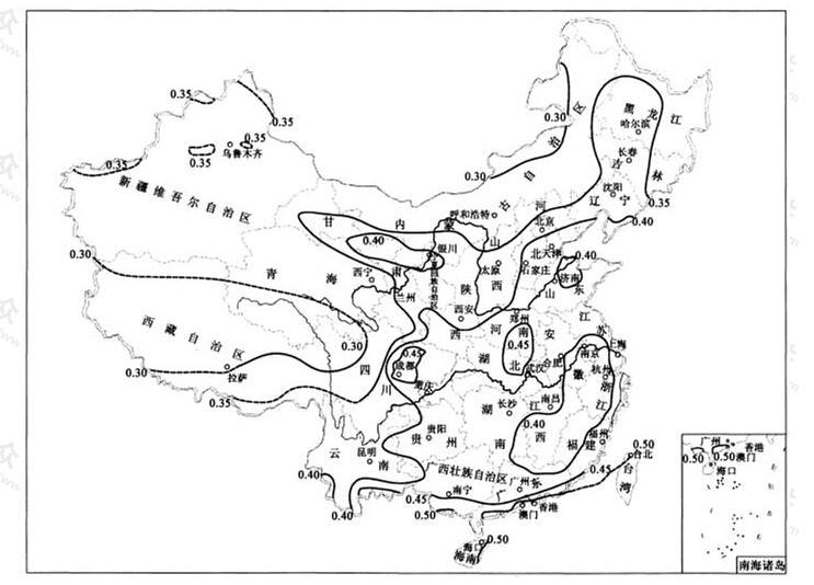 中国60min降雨强度转换系数(c60)等值线图(mm/min)