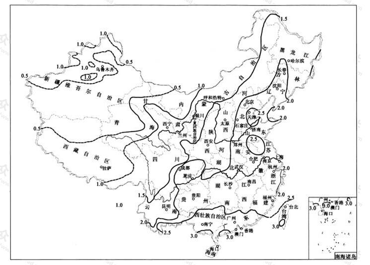 中国5年一遇10min降雨强度(q5,10)等值线图(mm/min)
