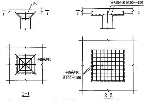 托板或柱帽配筋构造