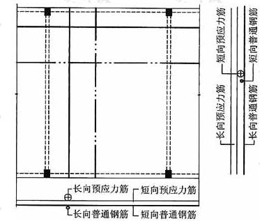 预应力筋在跨中与底部普通钢筋的位置关系