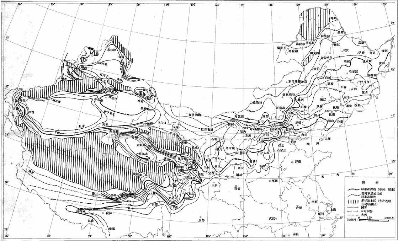 中国季节性冻土标准冻深线图