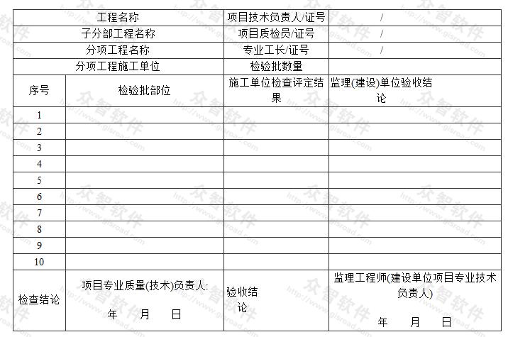 分项工程质量验收表