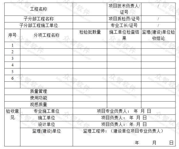子分部工程质量验收表
