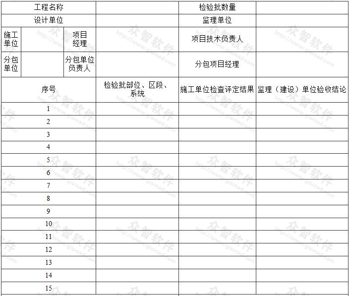分项工程质量验收汇总表
