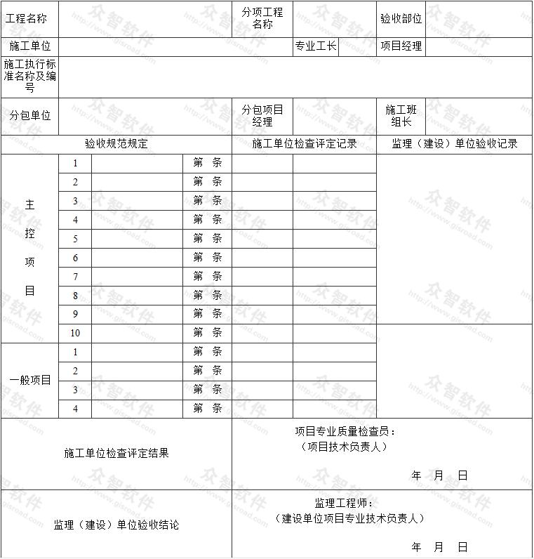 检验批/分项工程质量验收表