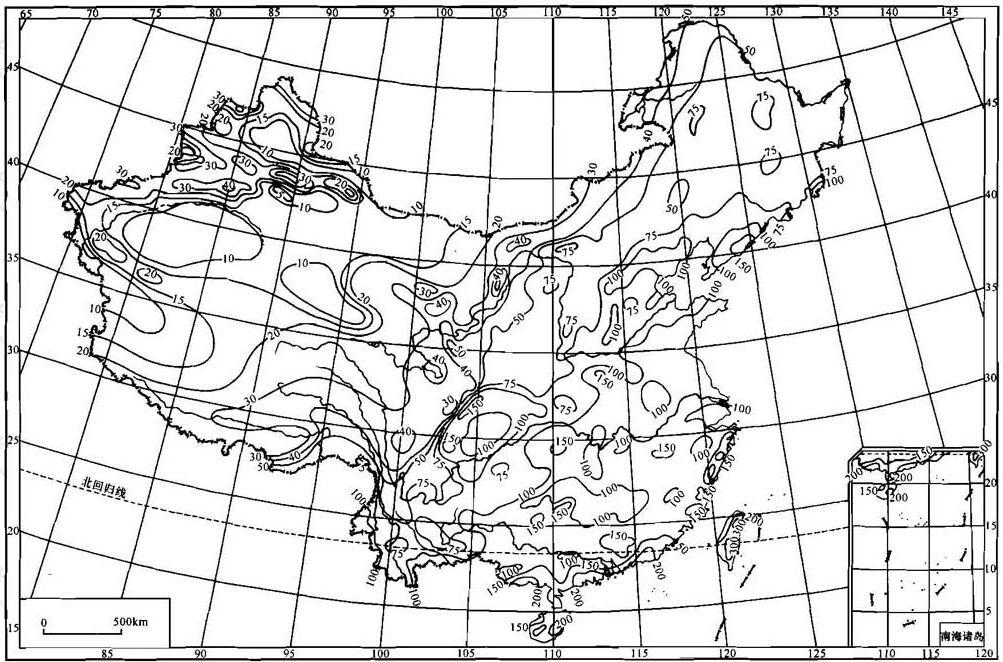 图A.0.1 中国年最大24h点雨量均值等值线(单位:mm)