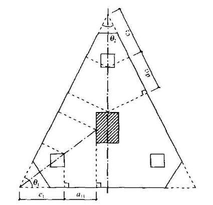 三桩三角形承台角桩冲切计算示意