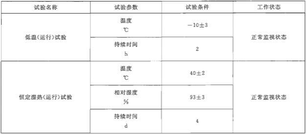 表1 运行试验的气候环境条件要求
