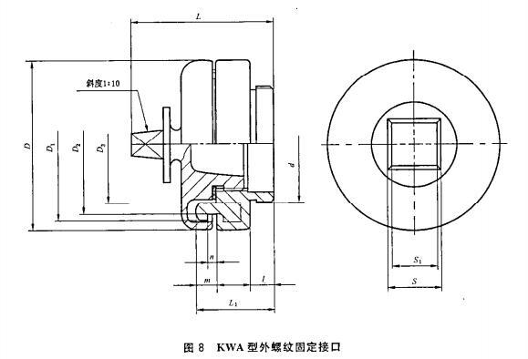 图8 KWA型外螺纹固定接口