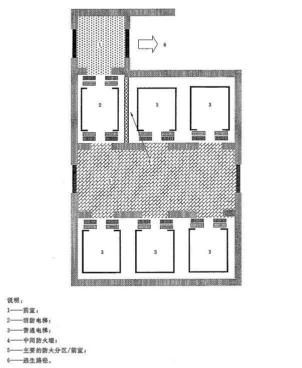 图B.3 在多梯井道内的两个出入口消防电梯和前室的布置示意图