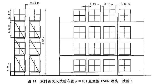 图14 双排架灭火试验布置K=161直立型ESFR喷头 试验b