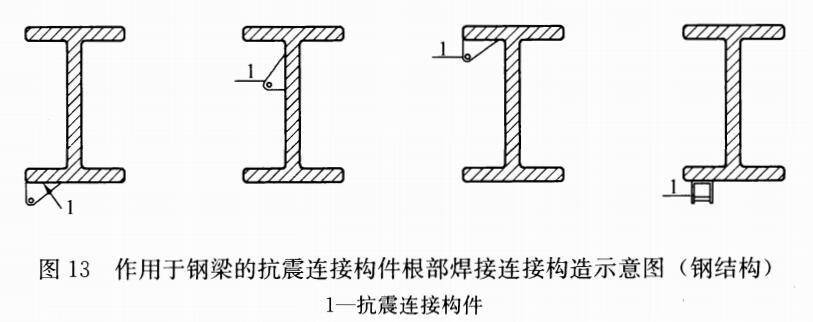 图13 作用于钢梁的抗震连接构件根部焊接连接构造示意图(钢结构)