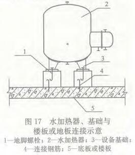图17 水加热器、基础与楼板或地板连接示意