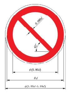 图A.3 禁止标志的设计尺寸