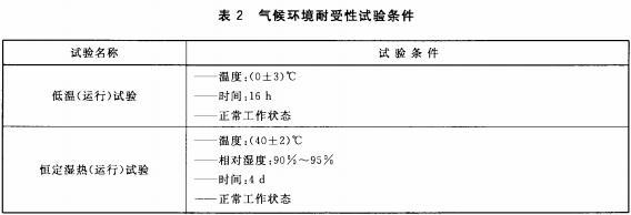 气候环境耐受性试验条件