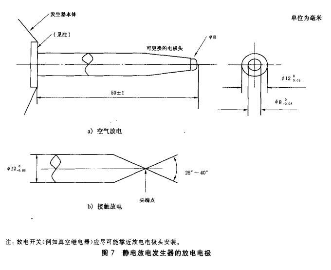 图7 静电放电发生器的放电电极