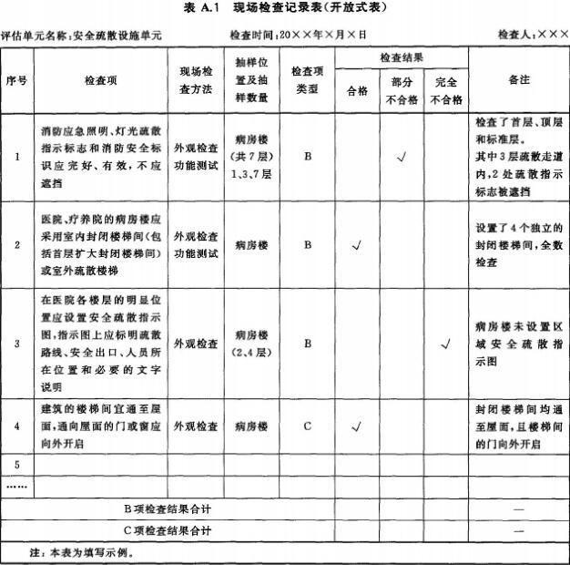 现场检查记录表(开放式表)