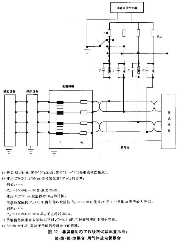 图22 非屏蔽对称工作线路配置示例;线-线/线-地耦合,用气体放电管耦合