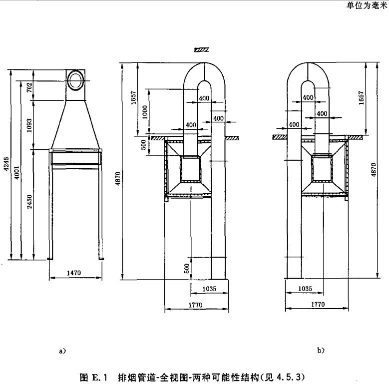 排烟管道-全视图-两种可能性结构(见4.5.3)