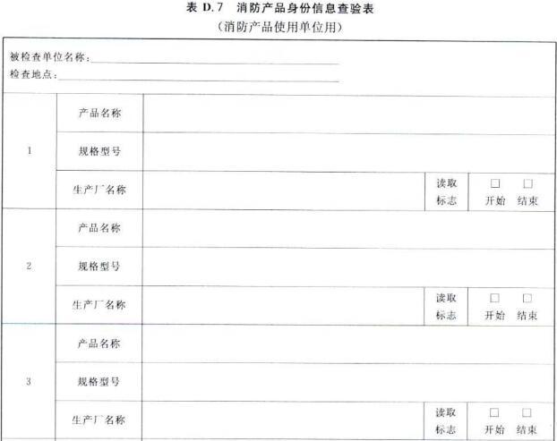 消防产品身份信息查验表(消防产品使用单位用)