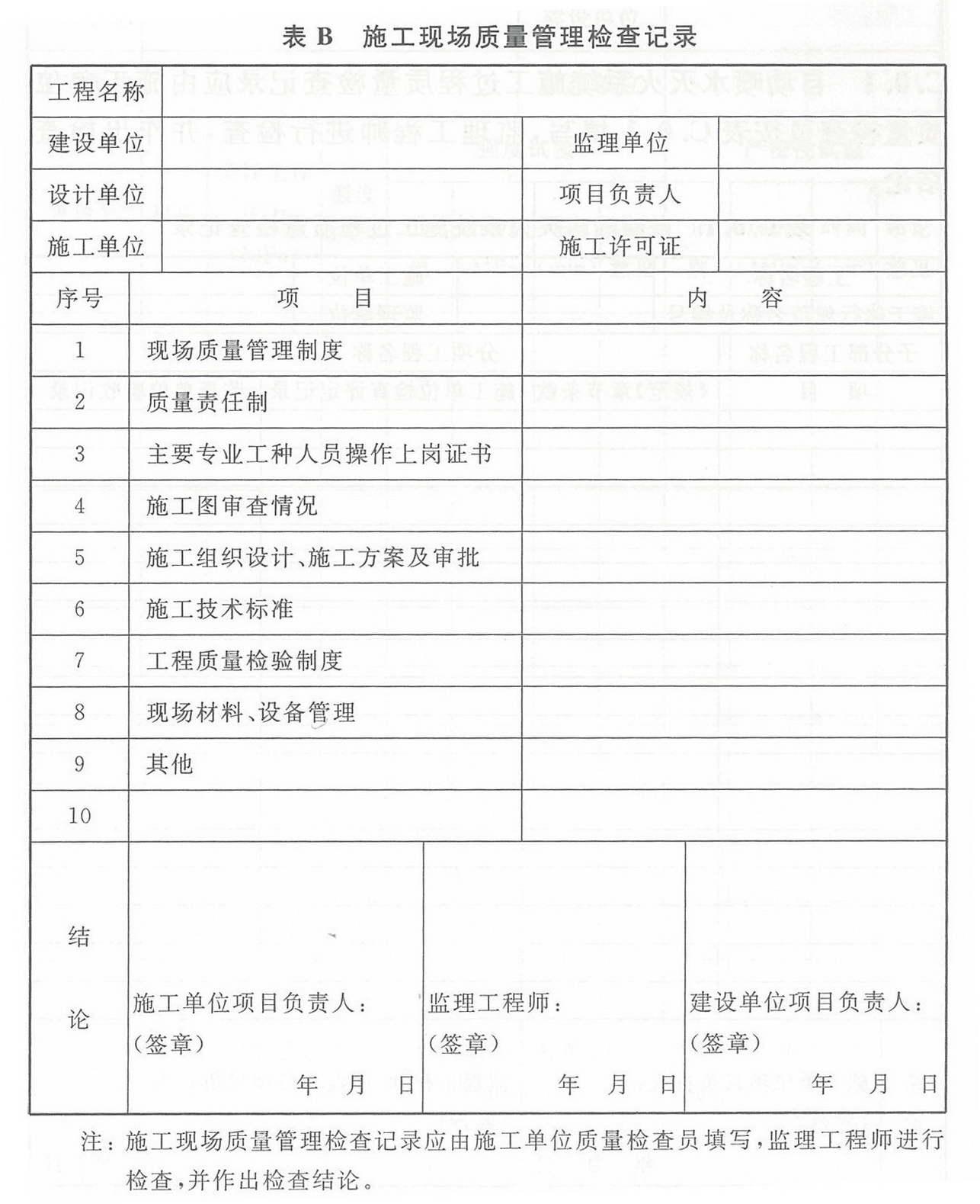 表B 施工现场质量管理检查记录