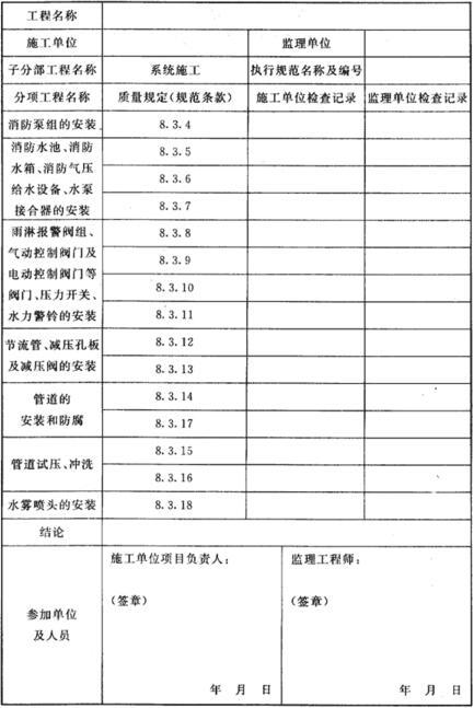 表D.0.3 系统施工过程中的安装质量检查记录