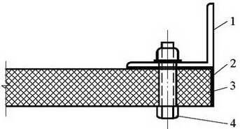 图4.3.3 玻璃纤维复合风管角钢连接示意