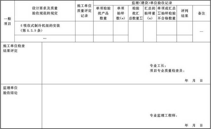 表A.2.5-1 空调制冷机组及系统安装检验批验收质量验收记录