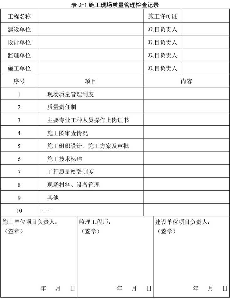 表D-1 施工现场质量管理检查记录