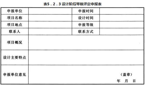 表5.2.3 设计阶段等级评定申报表